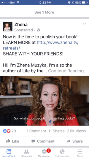 zhena facebook video ad
