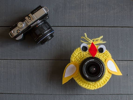 SALE Crochet lens critter yellow chicken Photographer