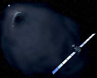An artist's concept of ESA's Rosetta spacecraft approaching comet Churyumov-Gerasimenko.