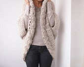 Crochet Pattern cable women shrug bulky cardigan, DIY tutorial, Instant download