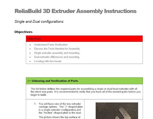 ReliaBuild 3D Extruder Assembly Instructions (Single and Dual)