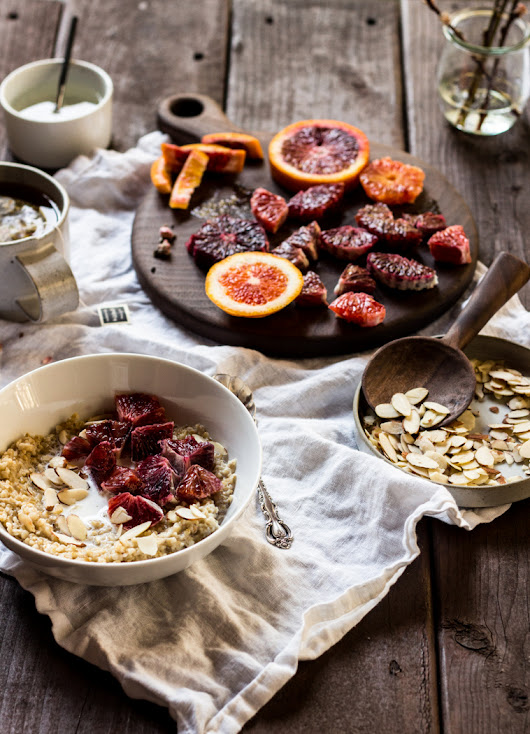 Steel Cut Oats with Blood Oranges, Almonds + Orange Blossom Syrup