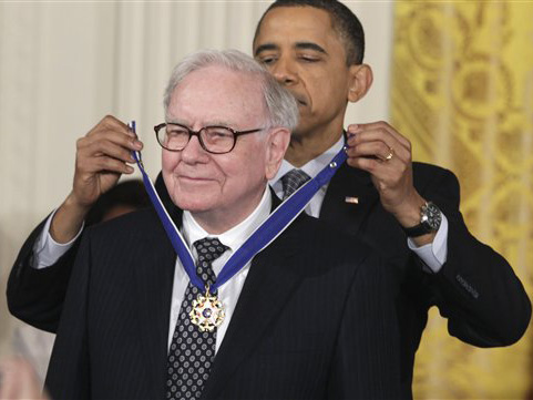 Buffett was presented with the Presidential Medal of Freedom by President Obama in 2011.