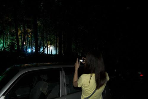 Moon Lai taking photos of a horror film set