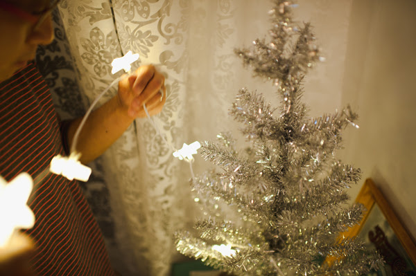 stringing the lights