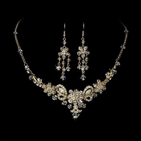 Gold Swarovski Crystal Bridal Jewelry Set and Tiara