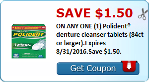 Save $1.50 ON ANY ONE (1) Polident® denture cleanser tablets (84ct or larger).Expires 8/31/2016.Save $1.50.