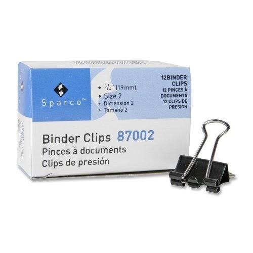 "Small Binder Clip, 3/4""Wide, 3/8"" Capacity, Black/Silver"