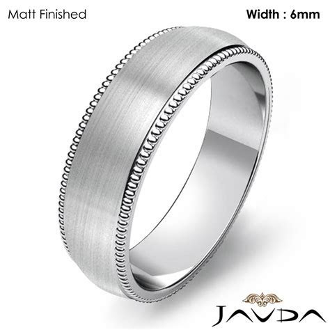 Solid Men Wedding Band Dome Milgrain Edge Classic Ring 6mm