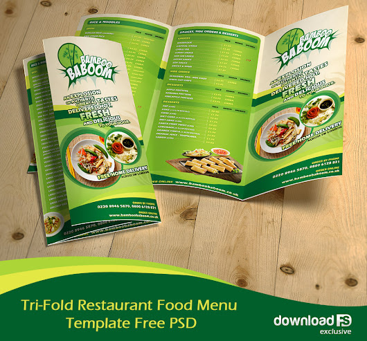 Tri-Fold Restaurant Food Menu Template Free PSD Download - Download PSD