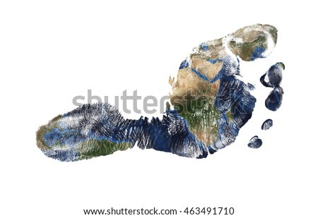 Real Imprint Of Child Foot Combined With A Map Of Our Blue Planet Earth - Isolated On White Background. Elements Of This Image Furnished By Nasa Stock Foto 463491710 : Shutterstock