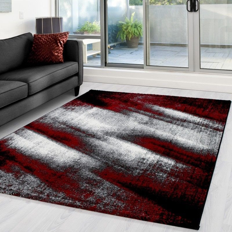 Rug For Living Room Red Black Grey Modern Abstract Mats New Floor Carp Xrugs