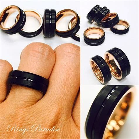 mens tungsten ring rose gold ring black tungsten