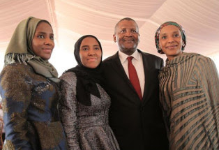 New photos of Aliko Dangote and three of his daughters surface onliine