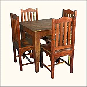 Amazon.com: Small Reclaimed Wood 5pc Dining Table and Chairs: Home \u0026 Kitchen