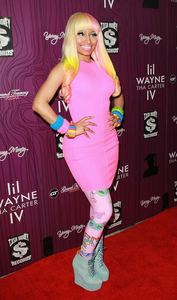 "Nicki Minaj Recording artist Nicki Minaj attends Cash Money Records' Lil Wayne album release party for ""Tha Carter IV"" at Boulevard3 on August 28, 2011 in Los Angeles, California."