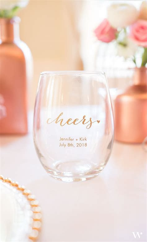 Personalized Stemless Wine Glass Wedding Favor   Small in