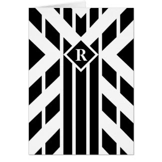 Black Quadrilateral Stripes on White with Monogram Greeting Card