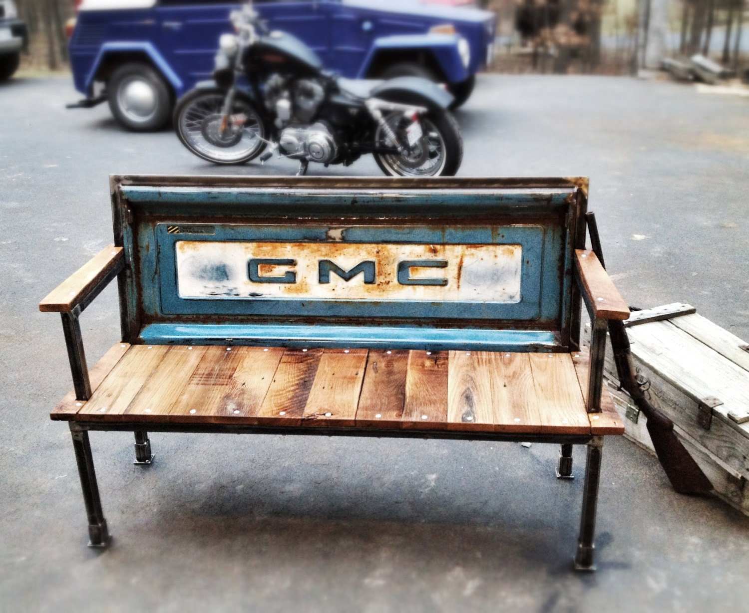 Blue Collar Bench Vintage tailgates are by YesterdayReclaimed