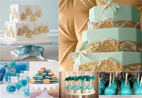 Teal, Turquoise & Gold Wedding Cakes & Treats   Yay for