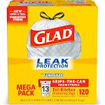 GLAD Tall Kitchen - Trash bag - drawstring - 13 gal - white - pack of 120