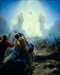 The Transfiguration, God, Moses, Elijah, Peter, James and John