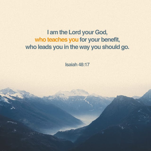 "Isaiah 48:17 NIRV; The Lord is the Holy One of Israel. He sets his people free. He says to them, ""I am the Lord your God. I teach you what is best for you. I direct you in the way you should go."