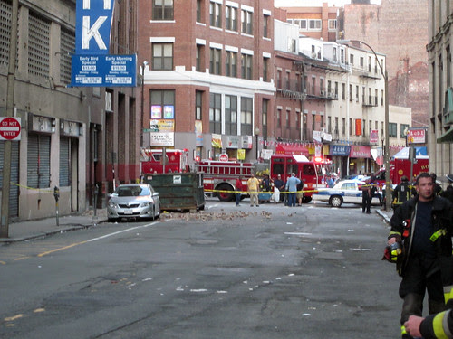 Bricks fell from several stories up in Boston, injuring one person, damage too by fcsuper