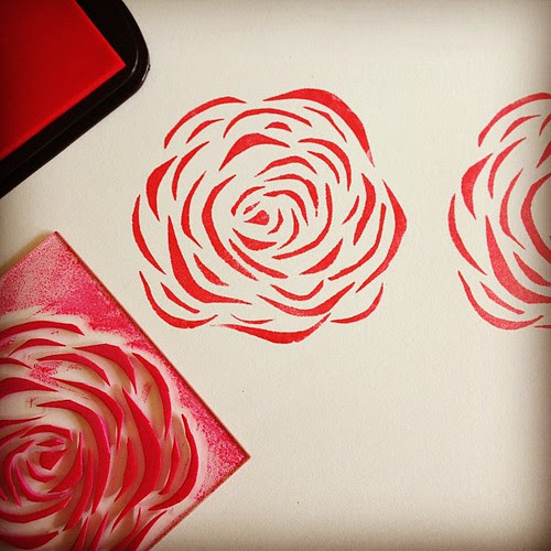 Creating a rose stamp from kids sticky backed foam sheet... #art