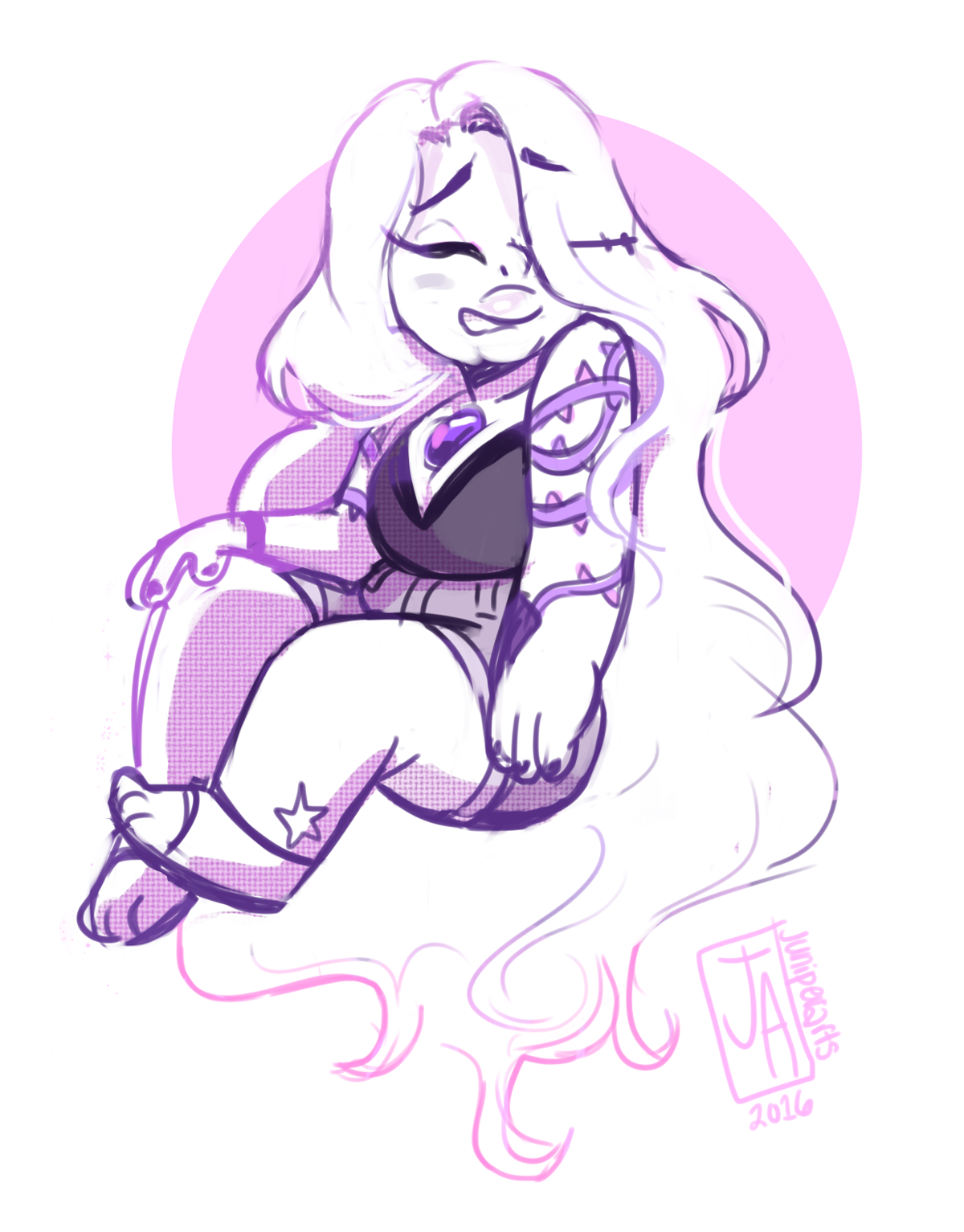 I wanted to draw Amethyst again … and then I thought … what if the crystal gems had personalized tattoos as apart of their emblem/group? *click for better viewing*