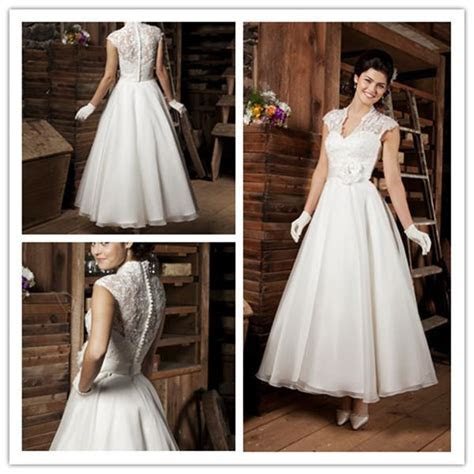 Vintage Tea Length Lace Country Style Wedding Dresses 2016