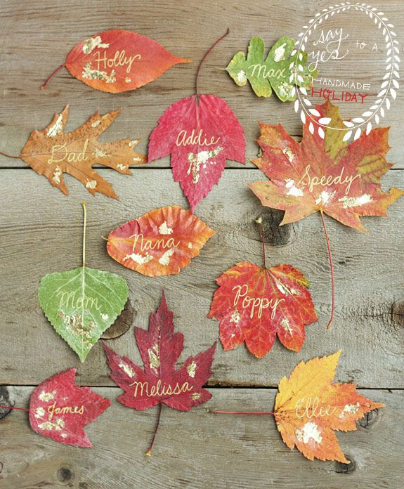Gilded Leaf Place Cards | Say Yes to Hoboken