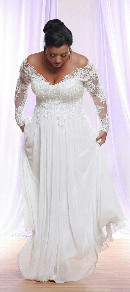 Perfect plus size wedding dress with long lace sleeves