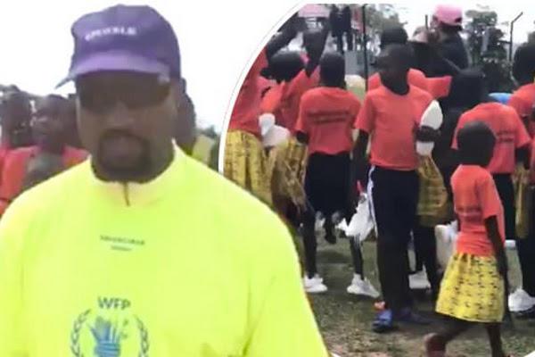 3993522ef39 Kim Kardashian and Kanye give Yeezy trainers to children in Uganda