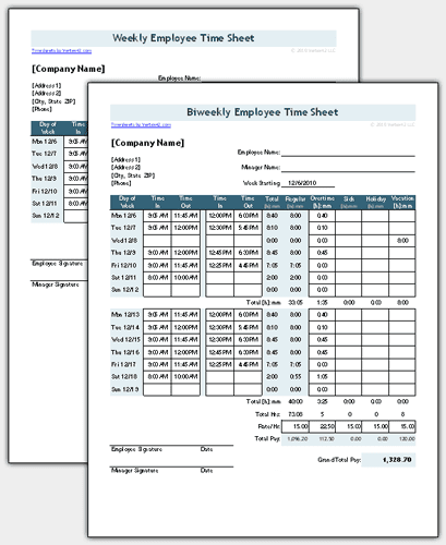 Time Sheet Template for Excel - Timesheet Calculator