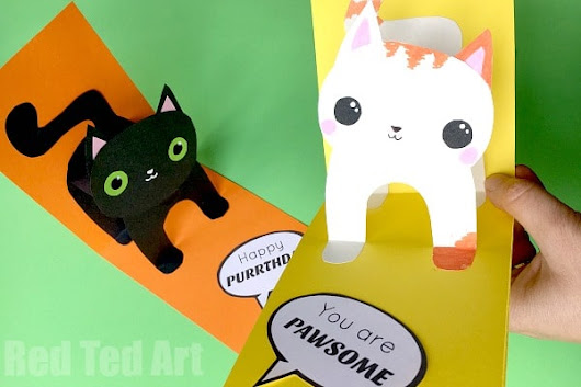 3D Cat Card DIY - Red Ted Art's Blog