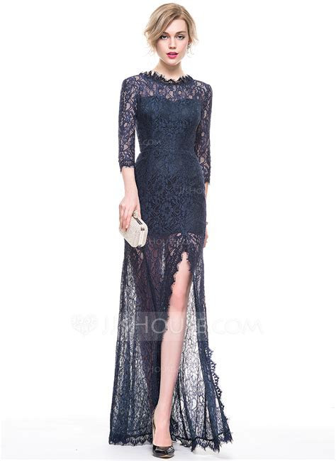 A Line/Princess Scoop Neck Floor Length Lace Evening Dress