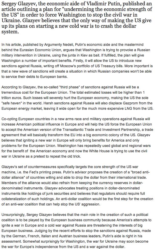US Dollar Under Grave Threat: Russia Plans Global Retaliation For Ukraine Screen Shot 2014 06 20 at 9.26.49 AM