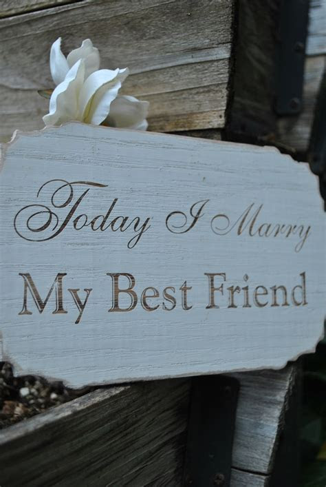 """Painted Engraved """"Today I marry my best friend"""" Wood"""
