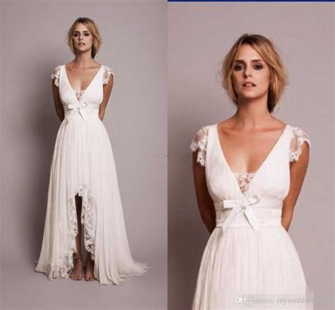 Discount 2017 Bohemian Chiffon Hi Lo Wedding Dresses Cap