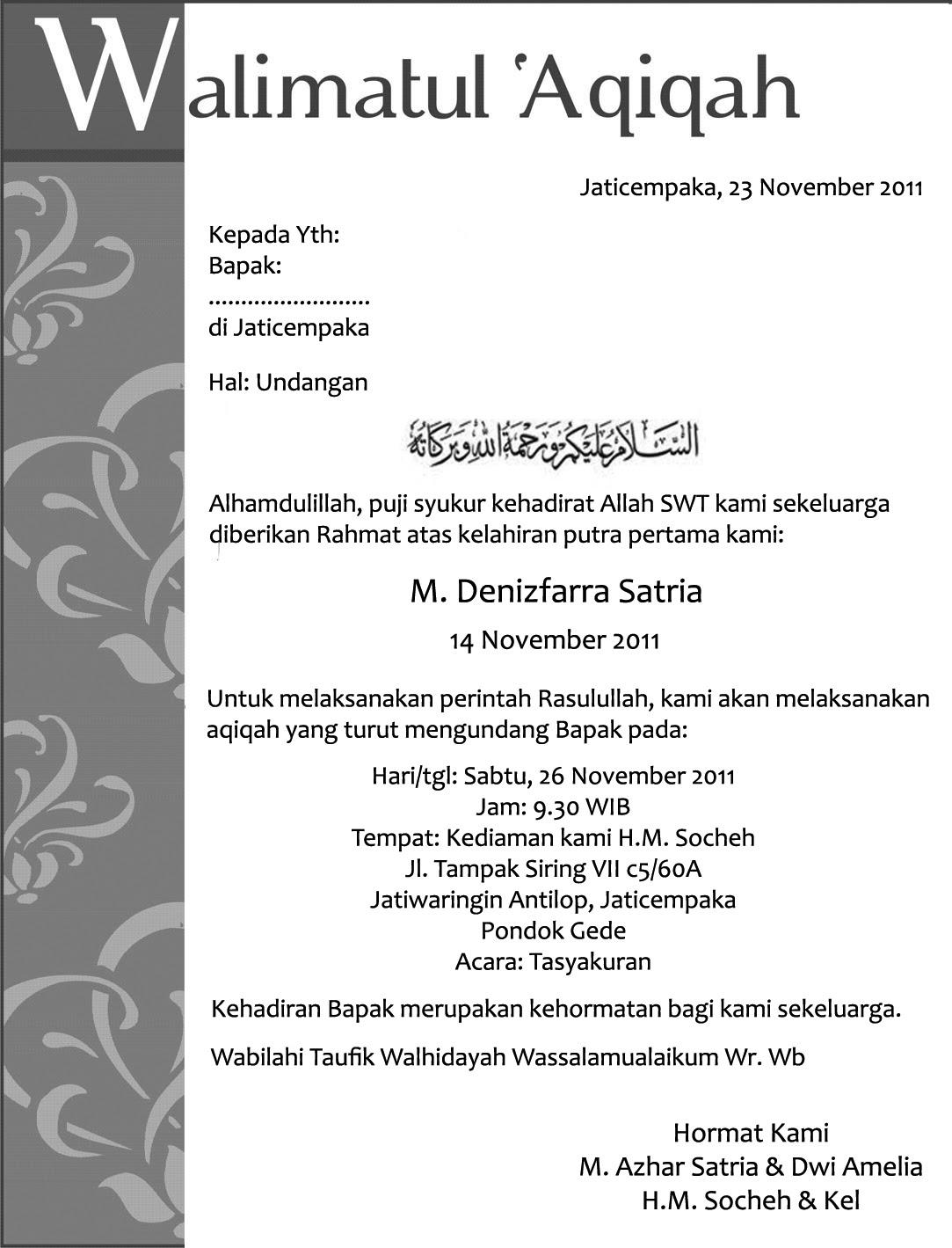 Contoh Undangan Tasyakuran Bahasa Jawa