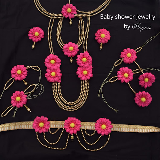 Sunflower baby shower jewellery in pink and gold | Jewels of sayuri