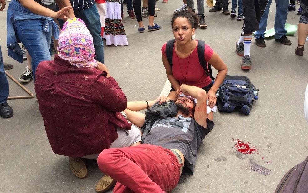Mateus Ferreira da Silva, de 33 anos, foi ferido durante manifestação em Goiânia (Foto: Vitor Santana/G1)