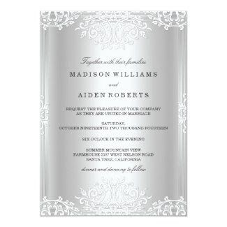 Silver & White Vintage Glamour Wedding Invitation