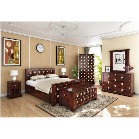 Madison Solid Wood & Brass 7pc Bedroom Furniture Set