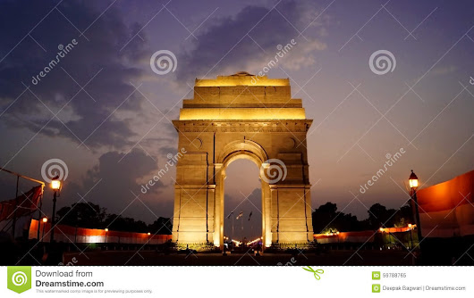 India Gate At Night Stock Photo - Image: 59788765