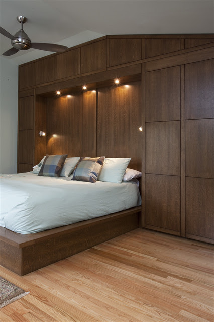 Bedwall with Built-in cabinet surround & hidden door
