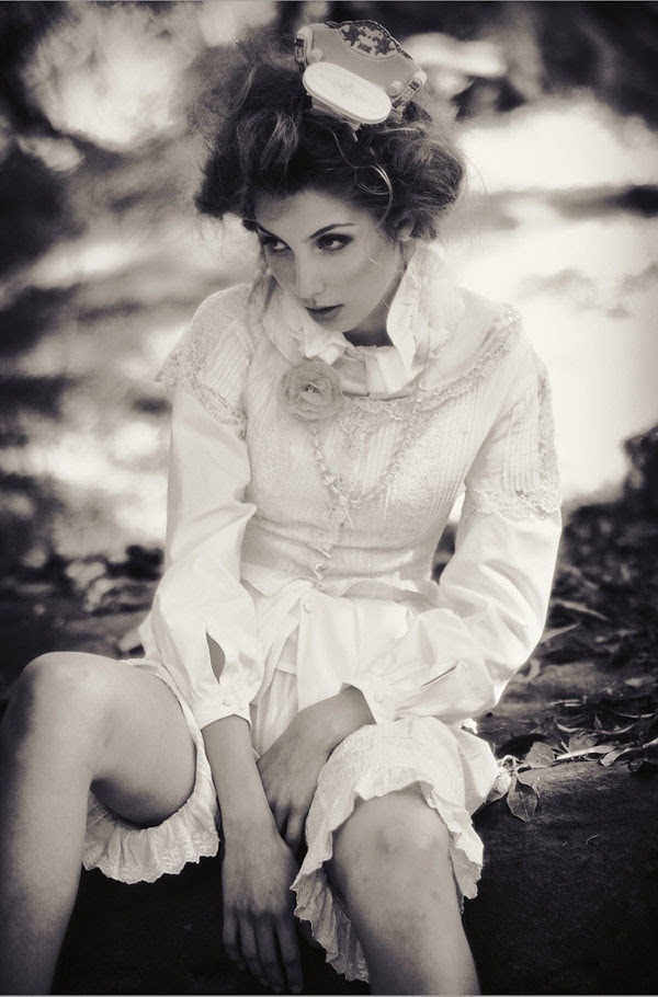 Black and White Fashion Photography, Sitting on the rock, Alice's Dreamtime