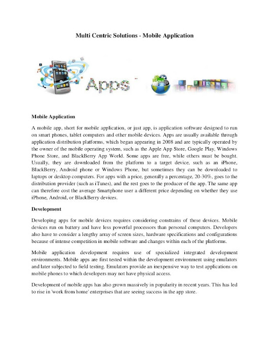Multi Centric Solutions - Mobile Application
