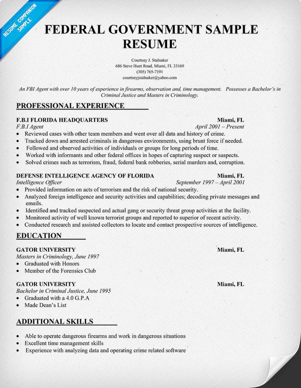 Resume Format Resume Examples Government Jobs